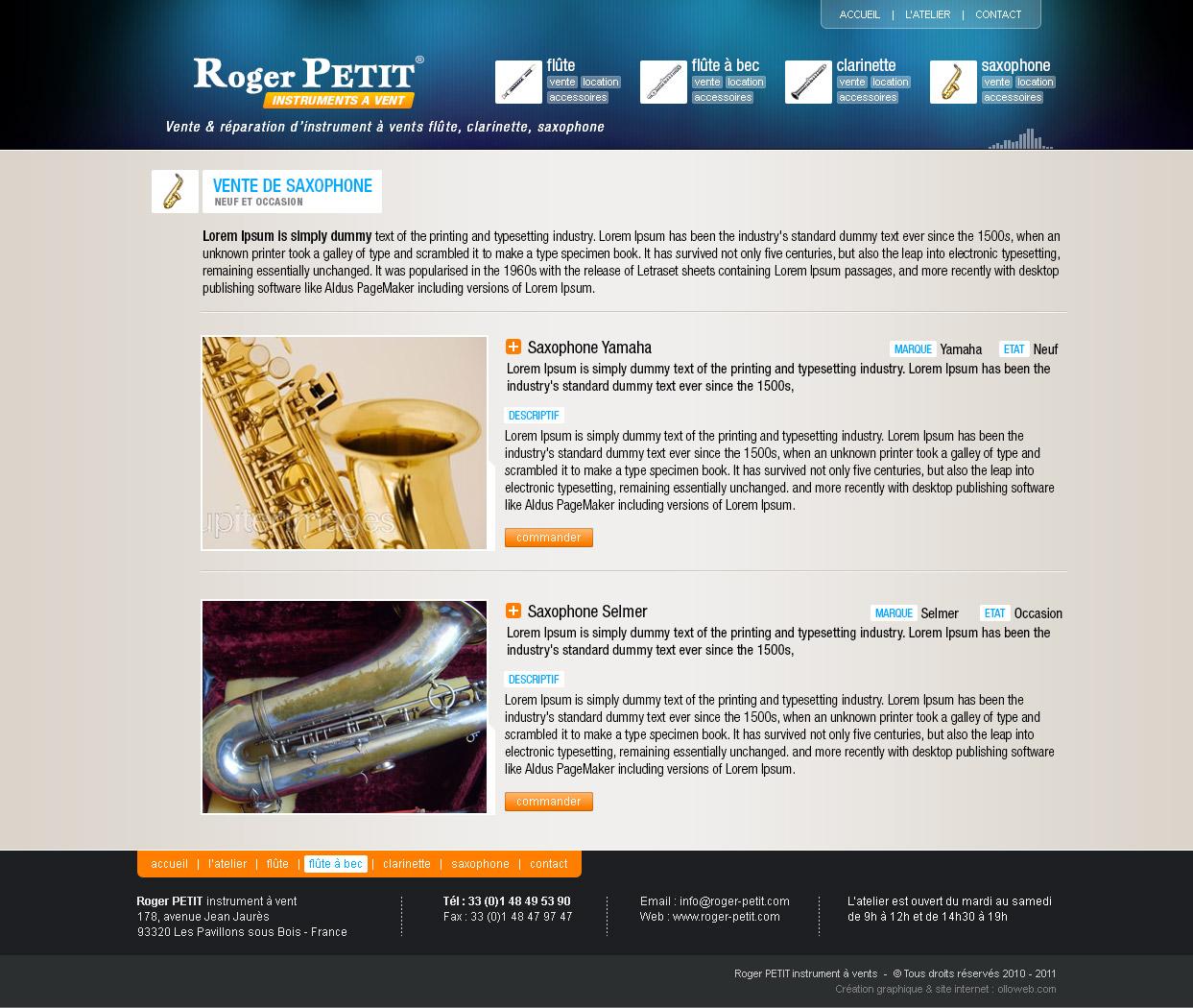 Graphisme de la page du catalogue d'instrument.