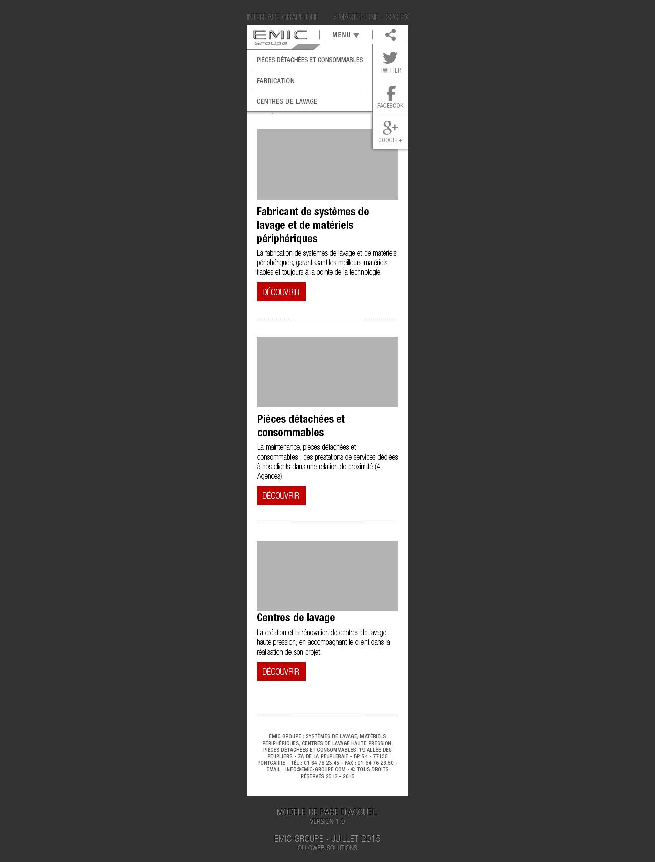 Conception de la version pour smartphone avec menu ouvert.
