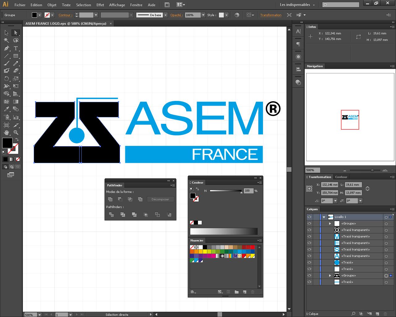 Lifting du logo de l'entreprise Asem