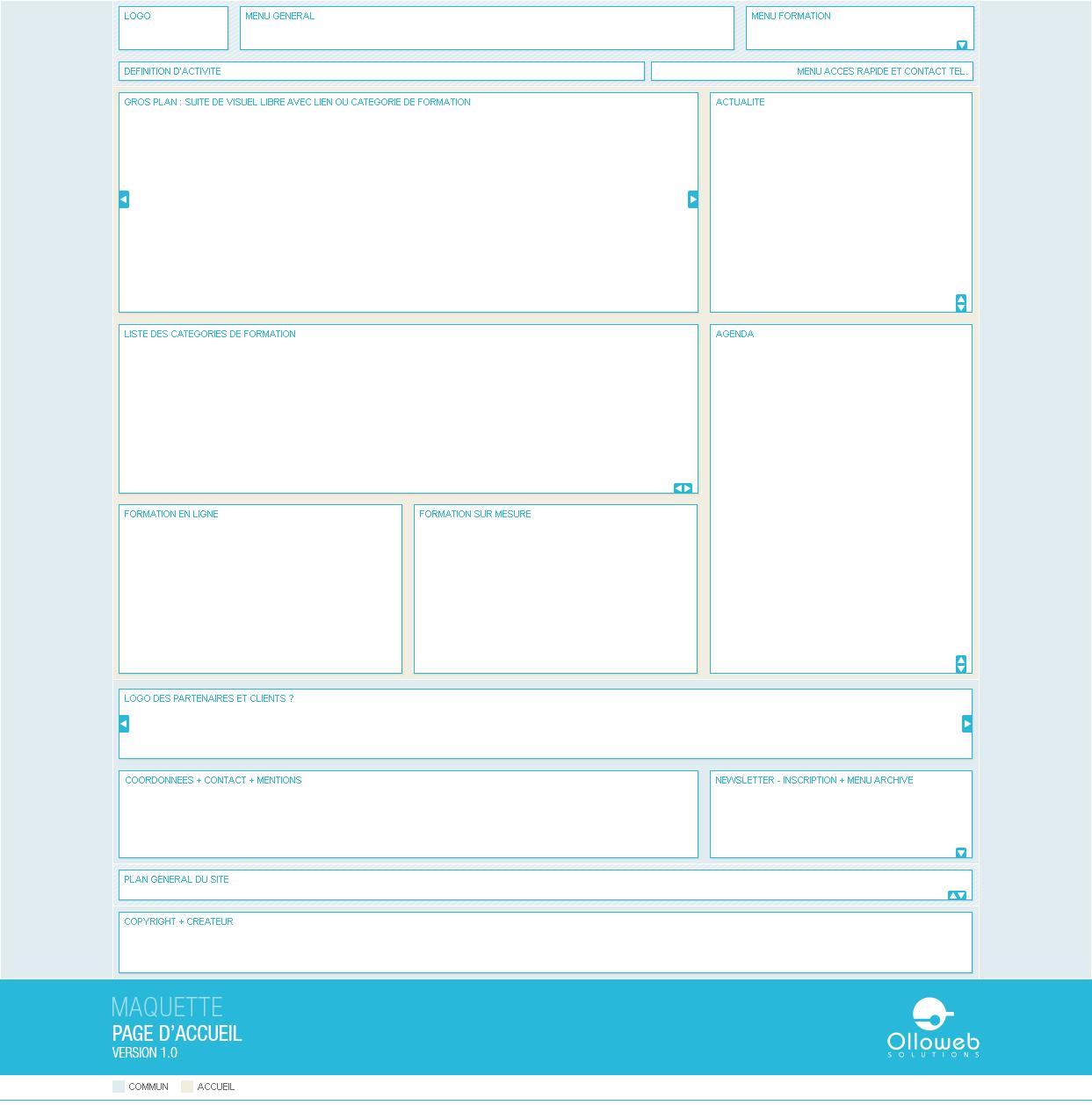 Proposition de maquette de la page d'accueil.