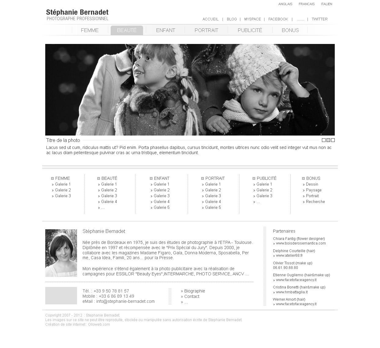 Création d'une proposition de maquette n°2 - page d'accueil