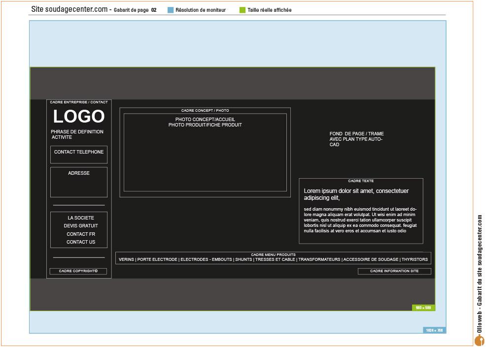 Maquette de site internet de soudage