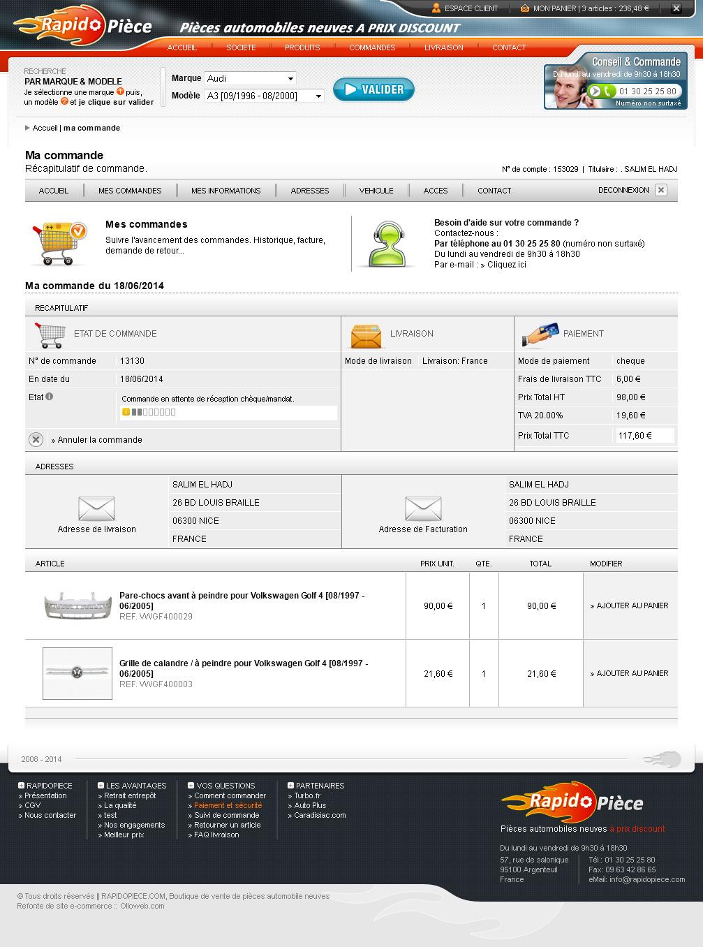 Détail de la page commande du site e-commerce