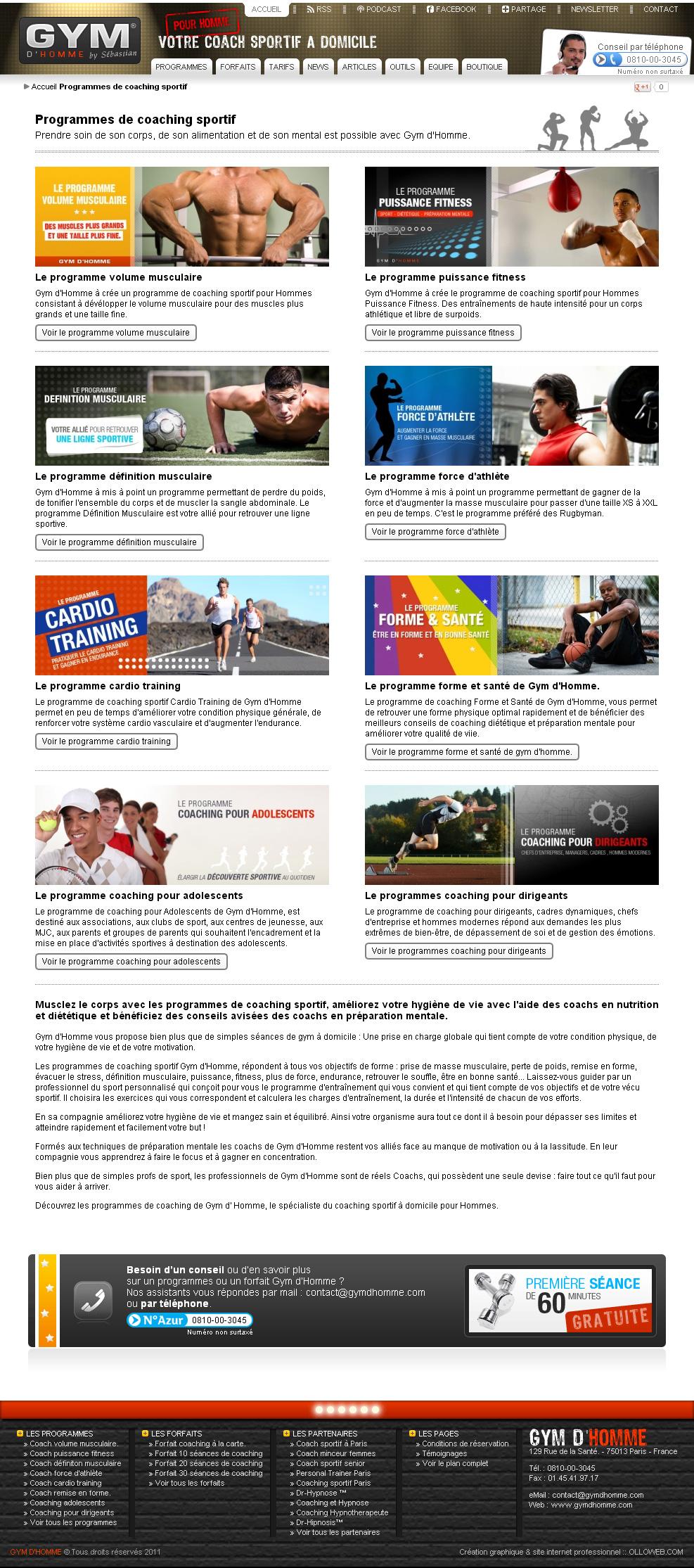 Page des programmes de sport