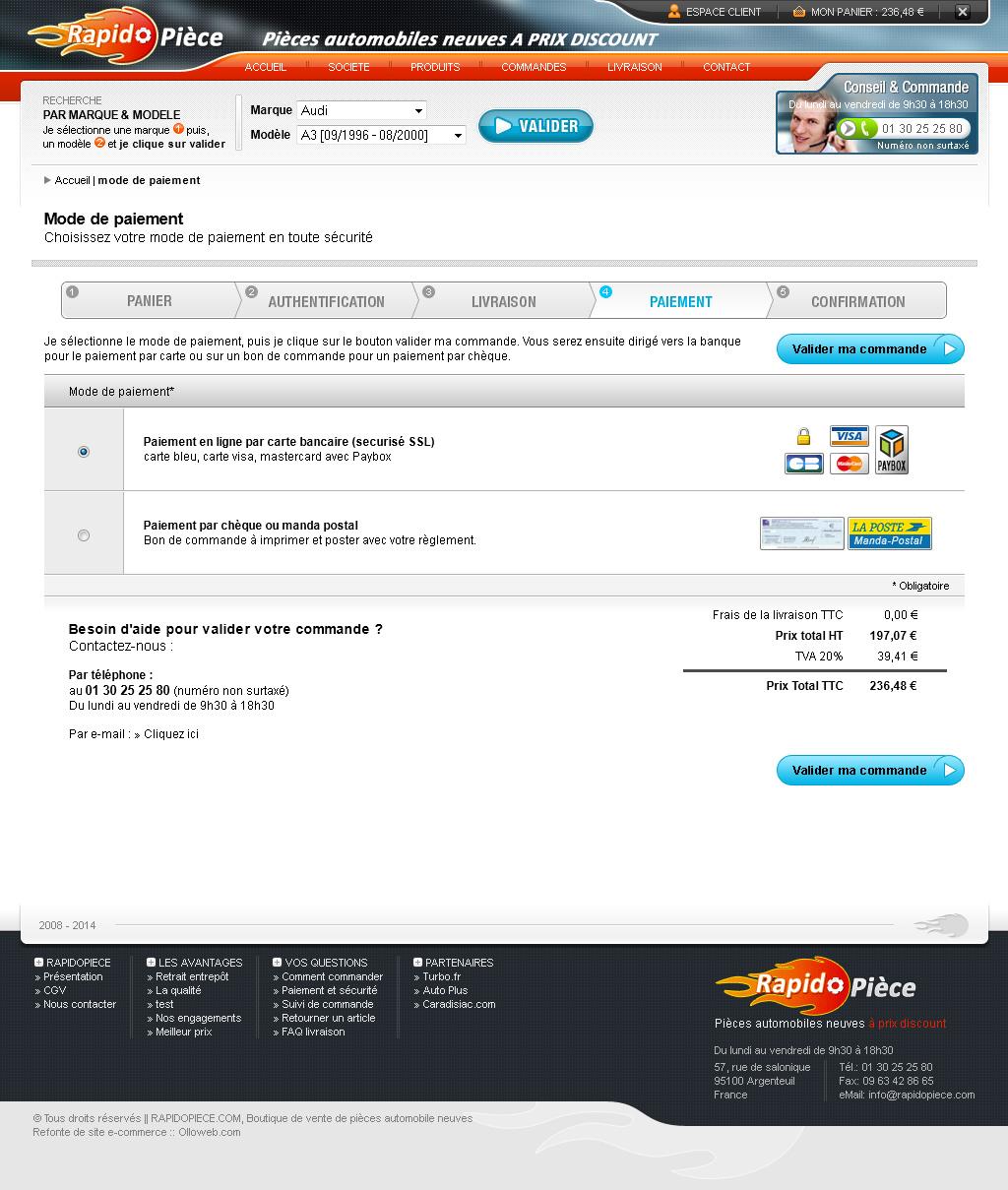 Détail de la page paiement du site e-commerce