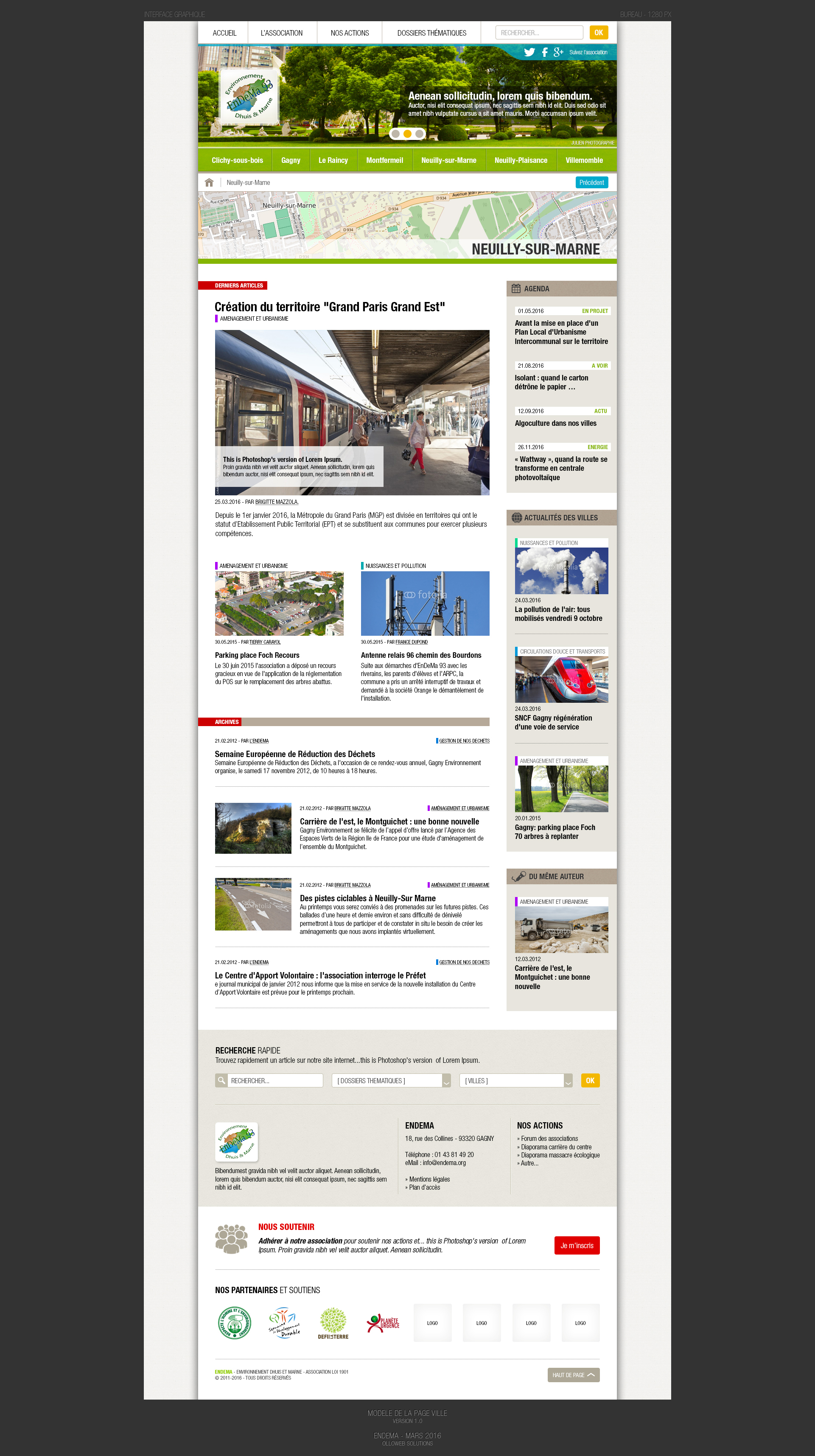 Création graphique des pages villes du site de l'association