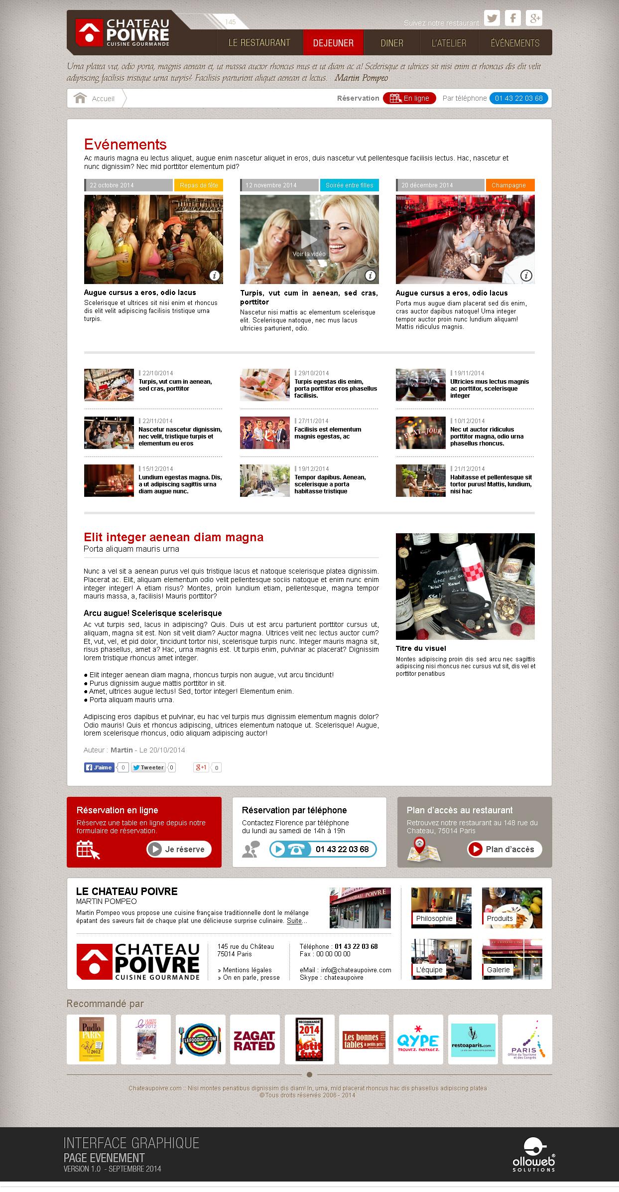Interface graphique de la page événement du restaurant