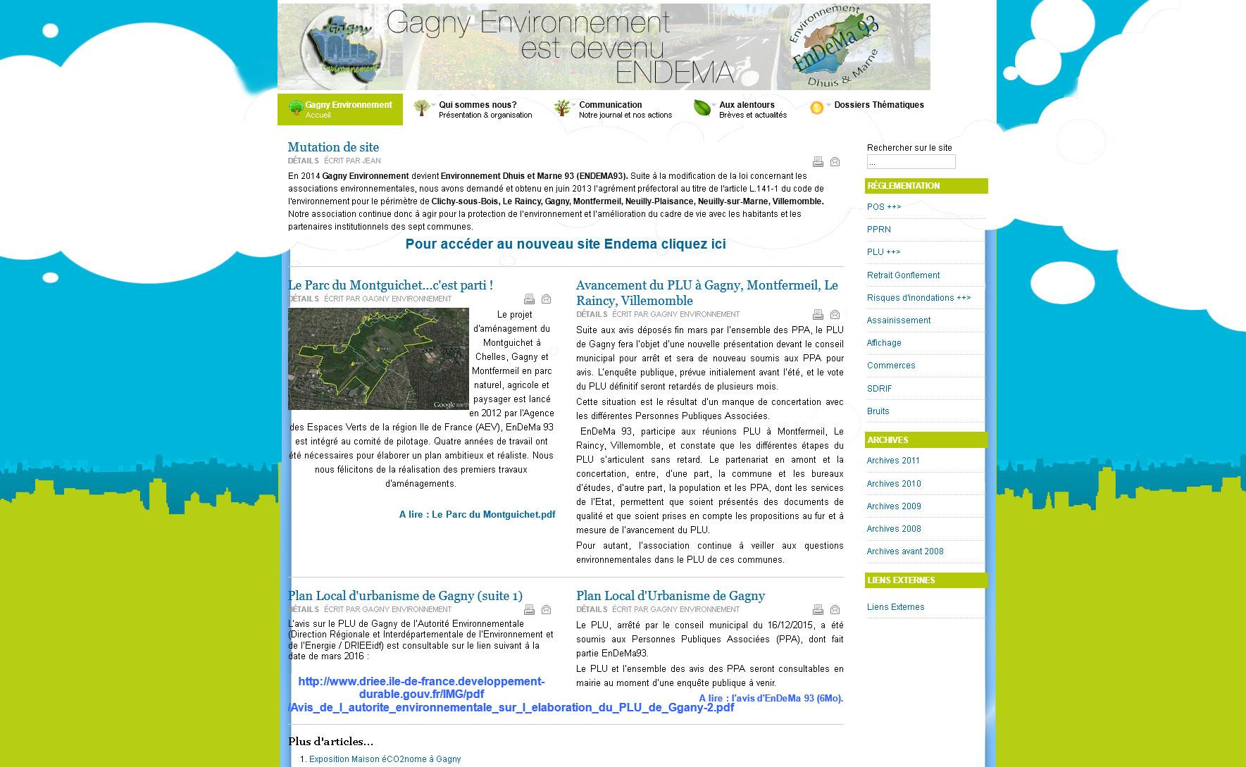 La page d'accueil du site de l'association avant refonte