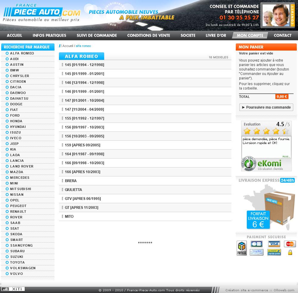 Création graphique de la page marque du site auto