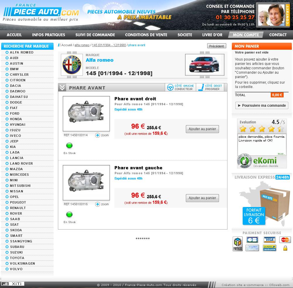 Création graphique de la page article du site auto