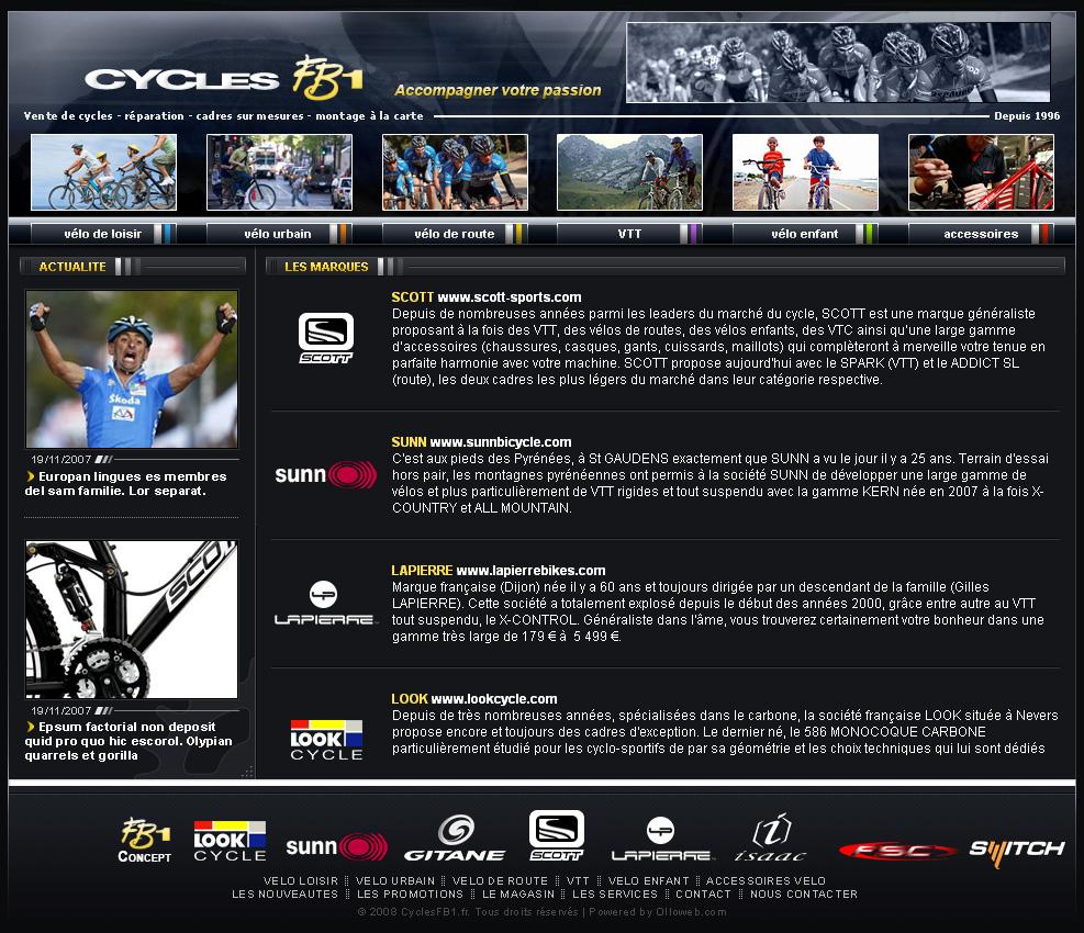 Page des marques de vélo