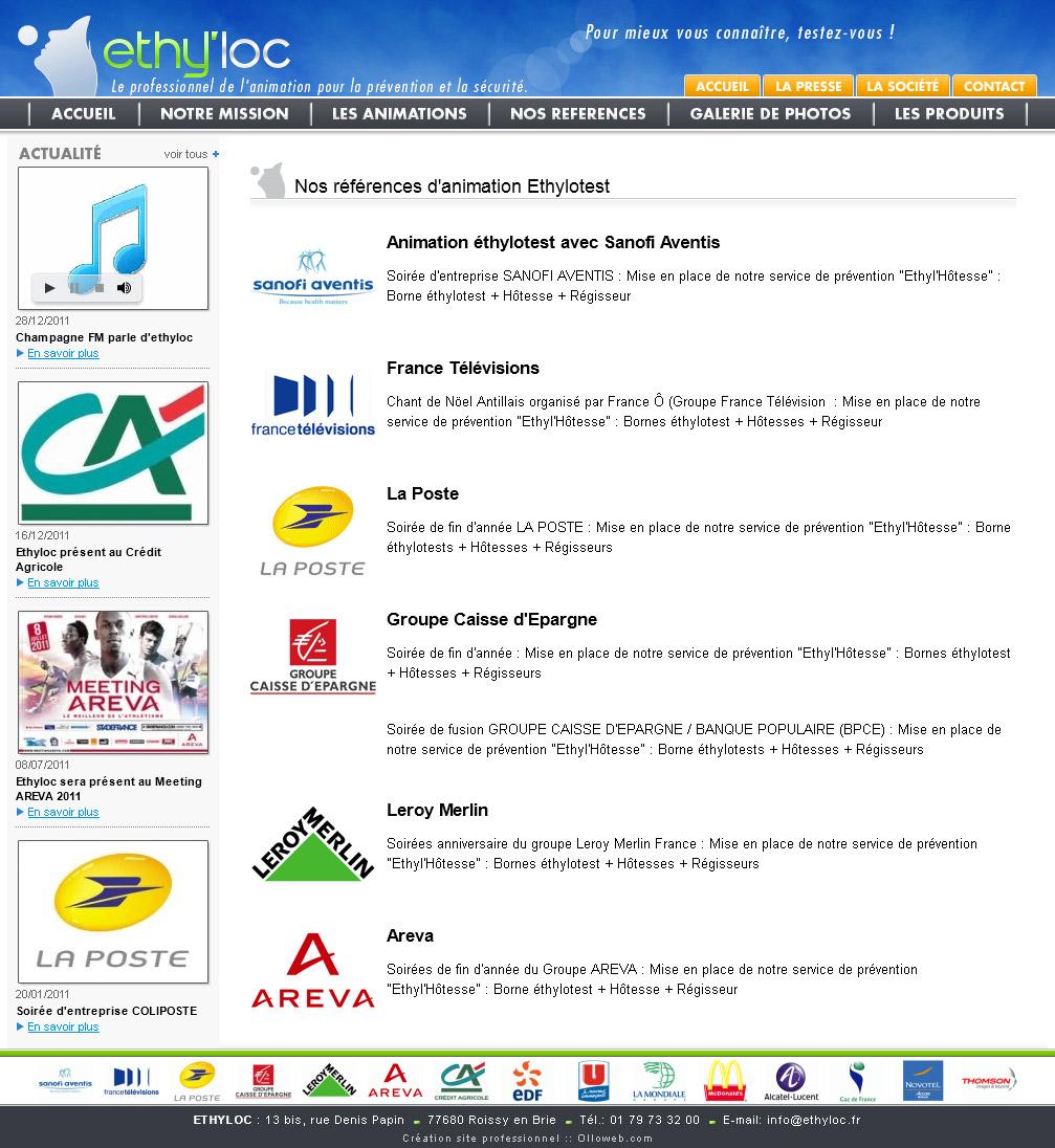 Page des références client