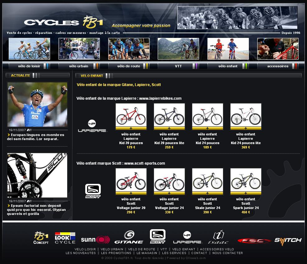 Exemple de la page sur les vélos pour enfant