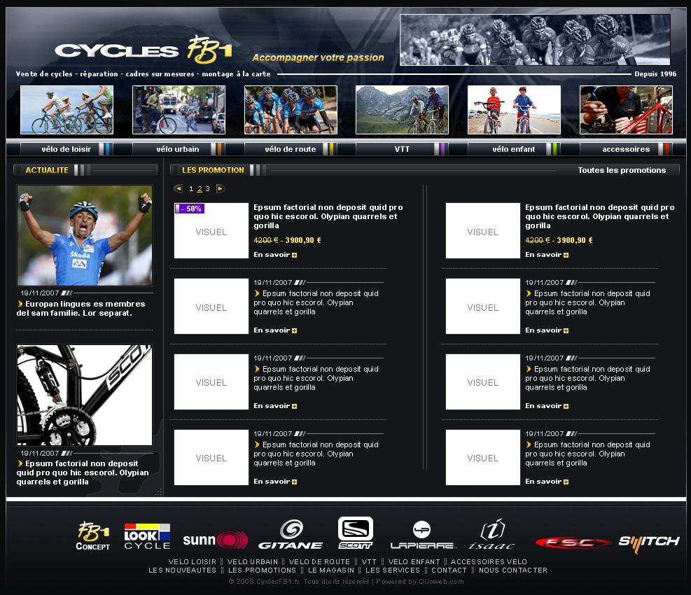 Graphisme de la page de vélo en promotion