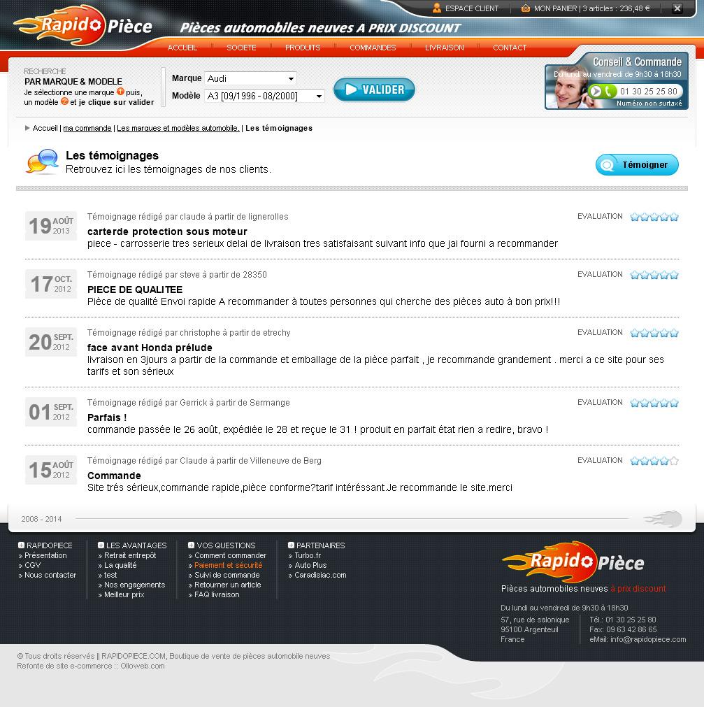 Détail de la page témoignages du site e-commerce