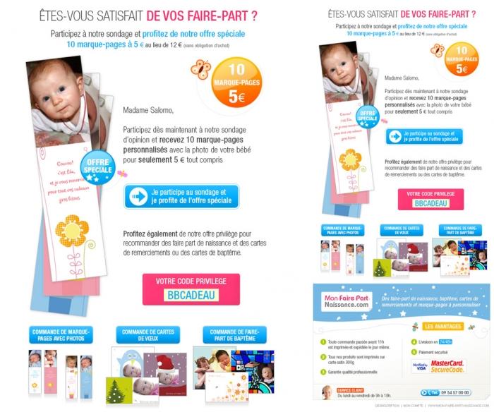 Création d'un emailing pour des marque-pages