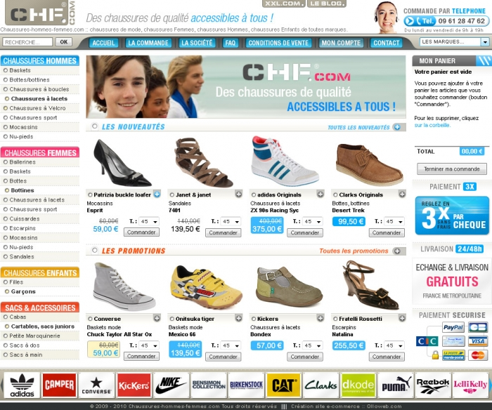 Création d'un site internet de e-commerce de chaussure.