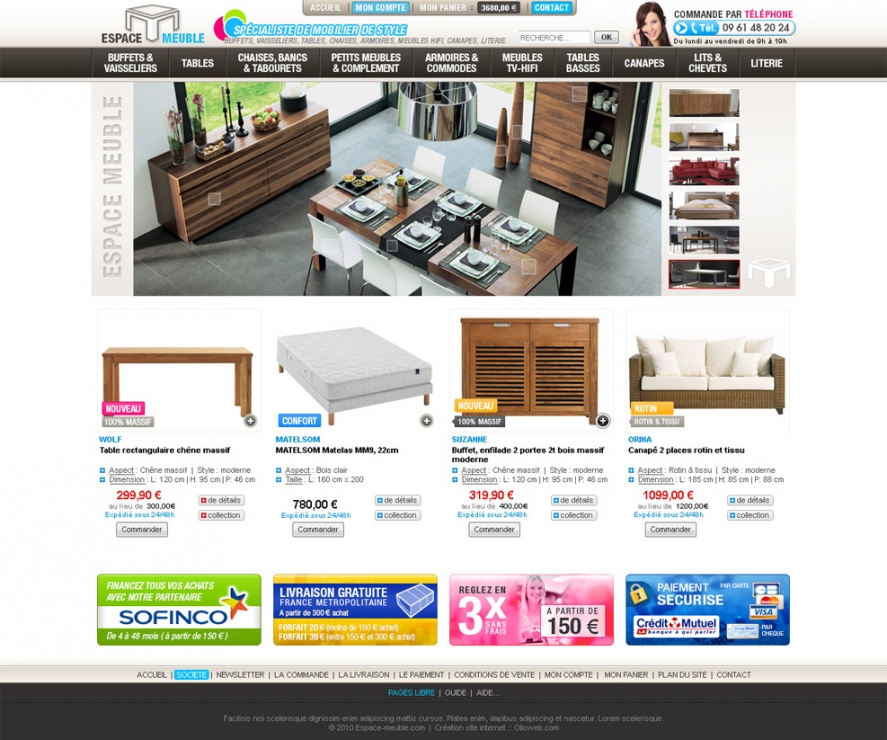 Cration de boutique e commerce de mobilier cration de site internet - Site de vente de meubles ...