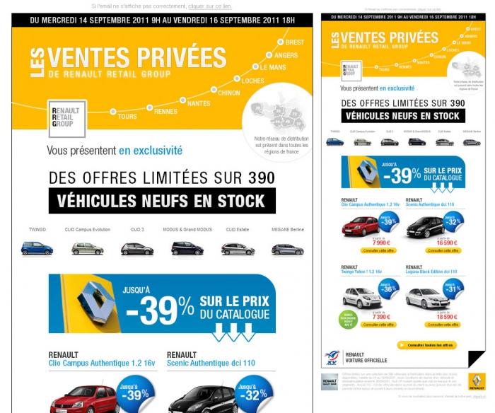 Création d'un emailing sur les ventes privées Renault