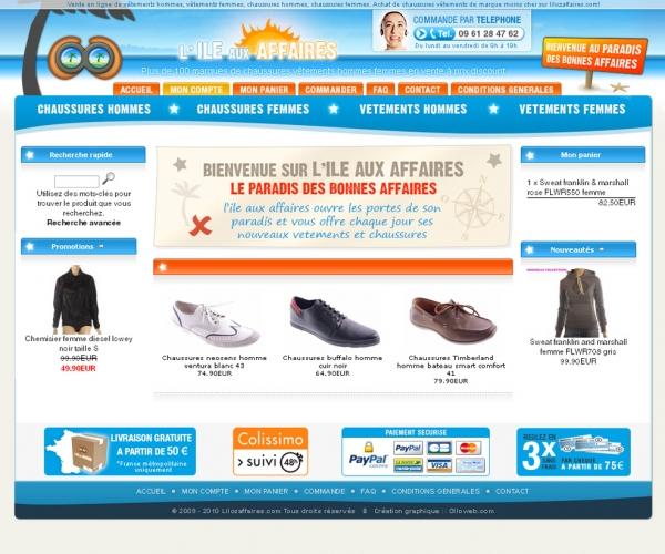 Création d'une interface graphique pour un site de vente de chaussures et vêtements