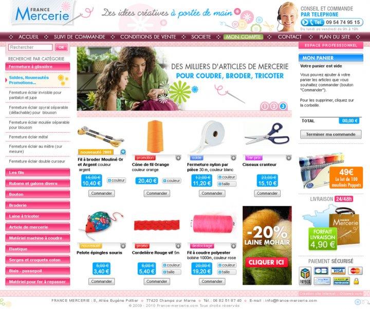 Création d'un siite e-commerce de mercerie